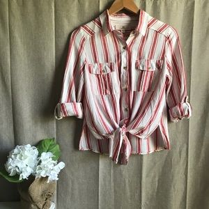Thread Supply Red White Striped Button Down S